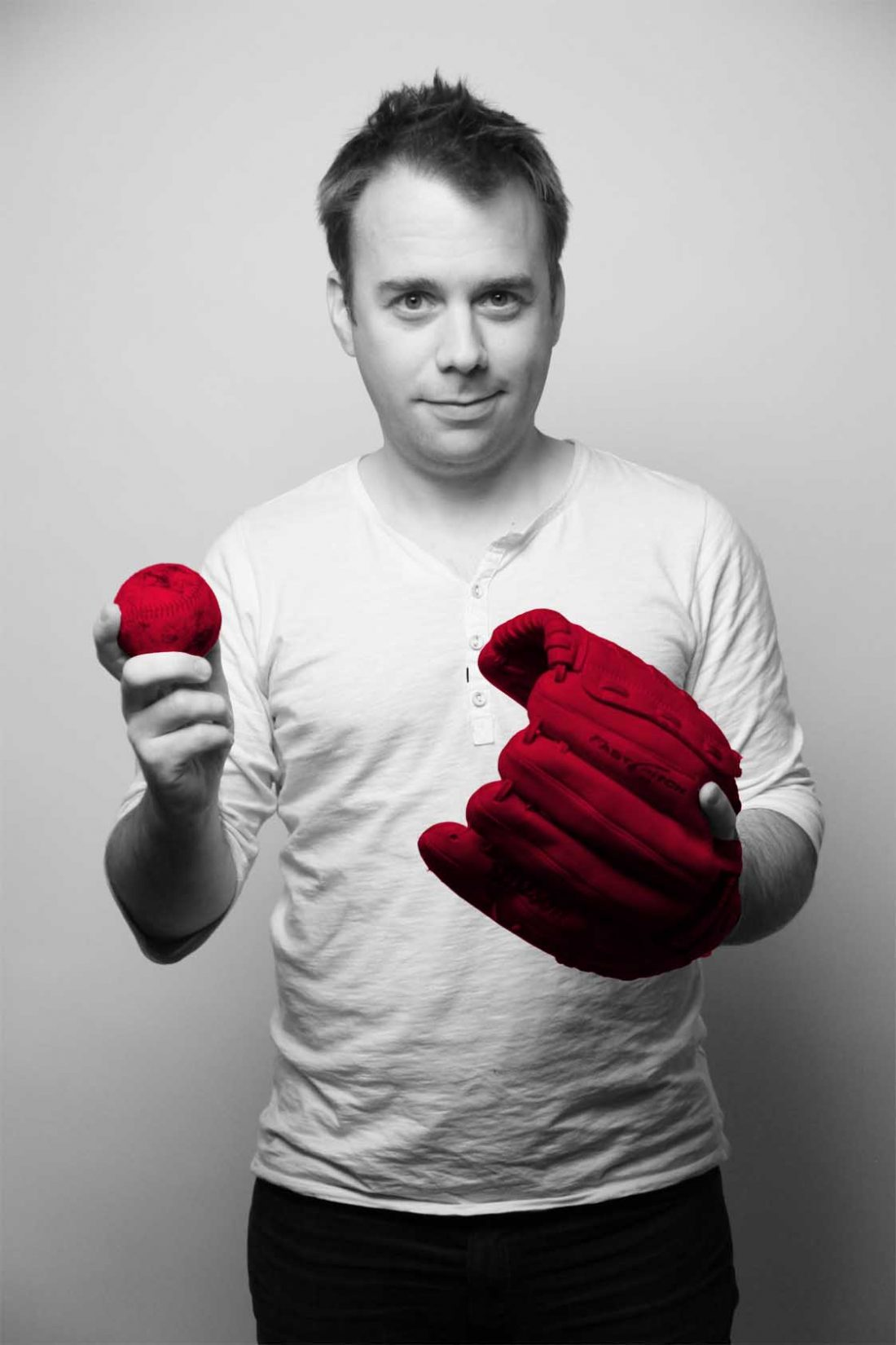 "Image of Jeremy McCracken and his ""q media red"" baseball glove and ball. He is a lifelong fan of baseball."