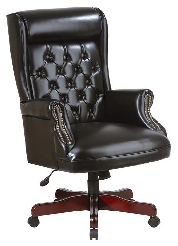 An image of a black leather office chair