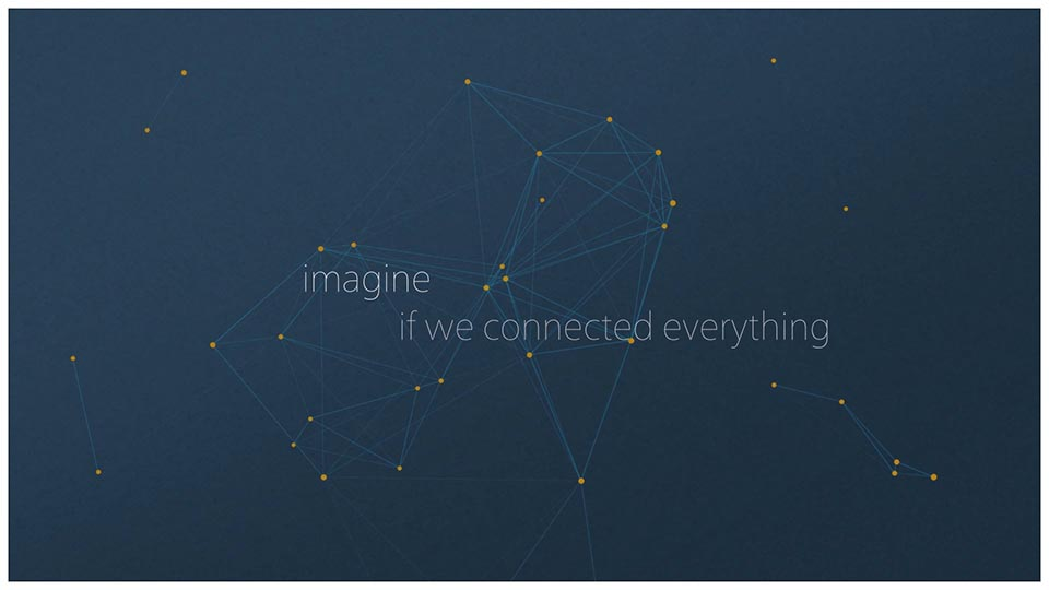 """A screenshot from an animated video that uses data points as animation to announce a strategic partnership between Barrick and Cisco. Test """"imagine if we connected everything."""""""