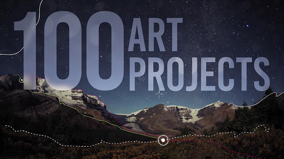 """A still frame from the PSA that shows the text """"100 art projects"""" over the top of mountains and a topographical map"""