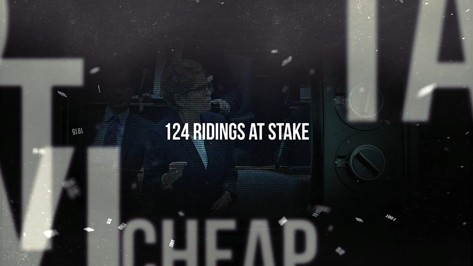 """A graphic still from this video with text on screen """"124 ridings at stake"""""""