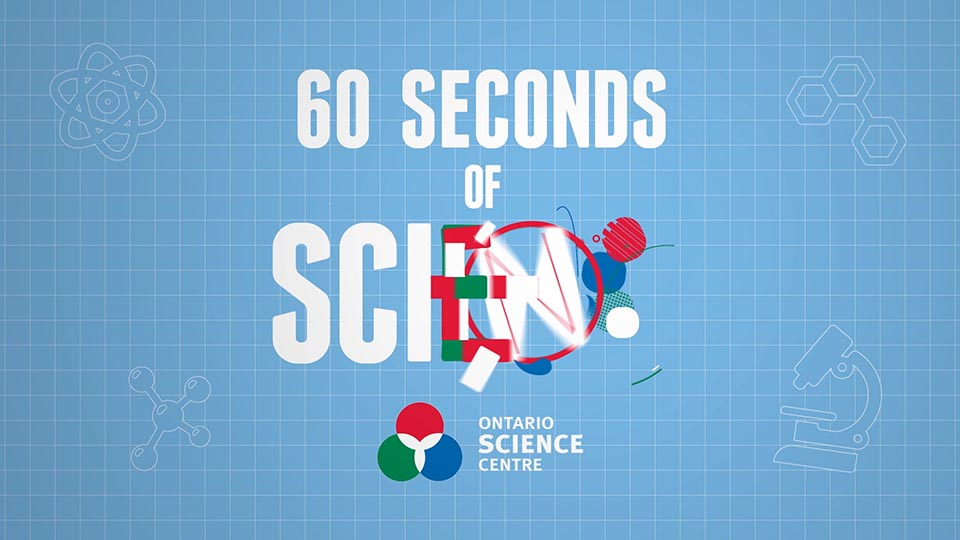 """First frame of the social series with text """"60 seconds of science"""" in graphics"""